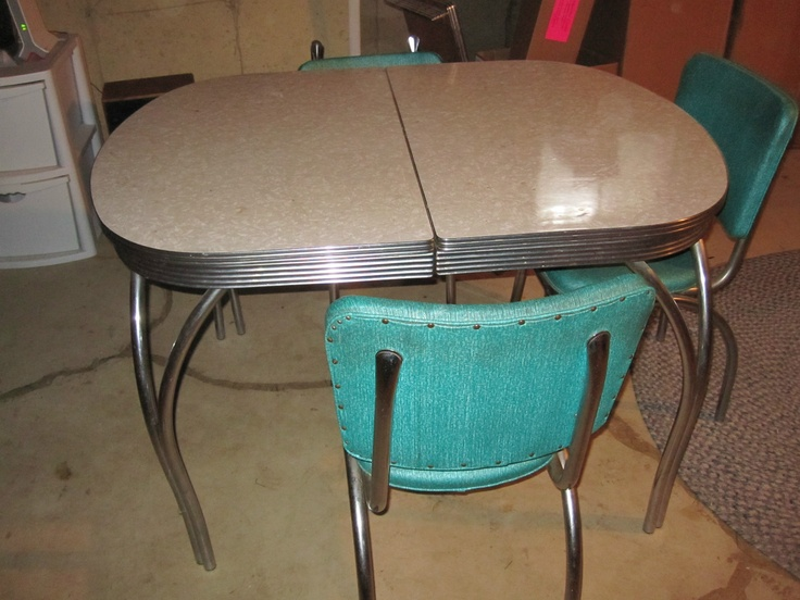 Retro 1950s Formica Kitchen Table Chairs X Leaf Good Condition Antique Metal Antique Metal