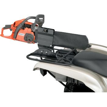 """MOOSE UTILITY DIVISION CHAINSAW CARRIER.  The most adjustable and versatile solid chainsaw holder on the market. Does not use rack space.  """"VISIT SITE"""" ABOVE FOR ALL INFO."""