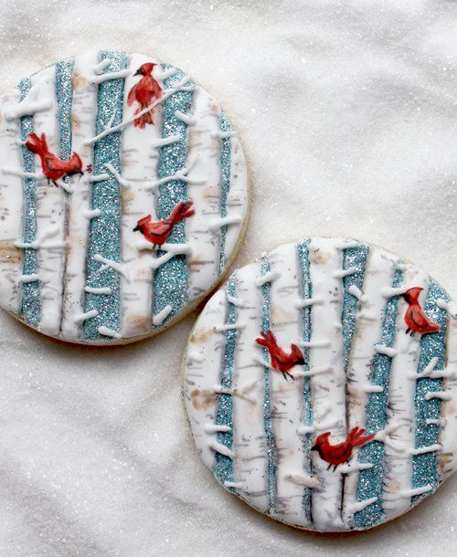 The Best Winter Holiday Cookies Ever:  Cardinals in White Birch Trees Decorated Cut-out Sugar Cookies by Arty McGoo.   cookie decorating  #cookieart  Galletas decoradas.  Iced biscuits.