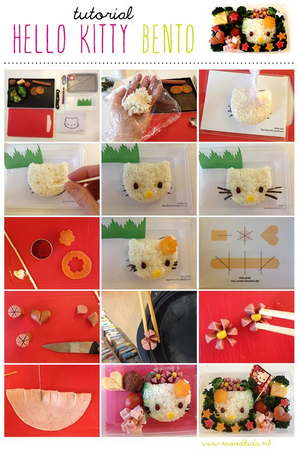 tutorial bento hello kitty, kyaraben karakter bento workshop - a way to do the rice ball without having the molds