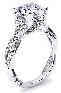 Look at this beauty! Offered in 18K white gold and Platinum with 0.28cttw. Tacori Style #2565PR6.5W Available at Bremer Jewelry in Peoria and Bloomington (Illinois, USA)