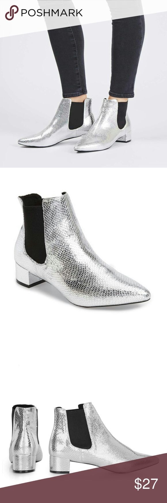 """TopShop Silver Chelsea KRAZY Pointed Ankle Booties Vertical goring panels and a modest block heel add authentic flair to a classic Chelsea boot crafted with a trend-right pointy toe.   - 1 1/2"""" heel  - 5 3/4"""" shaft   -Textile upper/textile and synthetic lining/synthetic sole  Women's Size 6.5 / Euro 37   Brand new! Topshop Shoes Ankle Boots & Booties"""