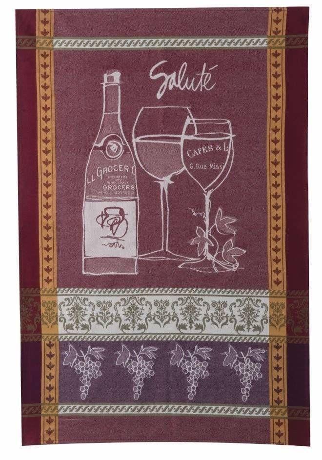 "A Wine Toast Jacquard Weave Dish Towel / Tea Towel, 20"" x 30"""