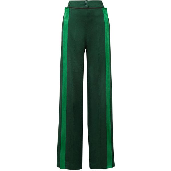 ValentinoBelted Striped Hammered Satin-jersey Wide-leg Pants ($1,890) ❤ liked on Polyvore featuring pants, emerald, snap button pants, striped wide leg trousers, striped wide leg pants, valentino trousers and green trousers