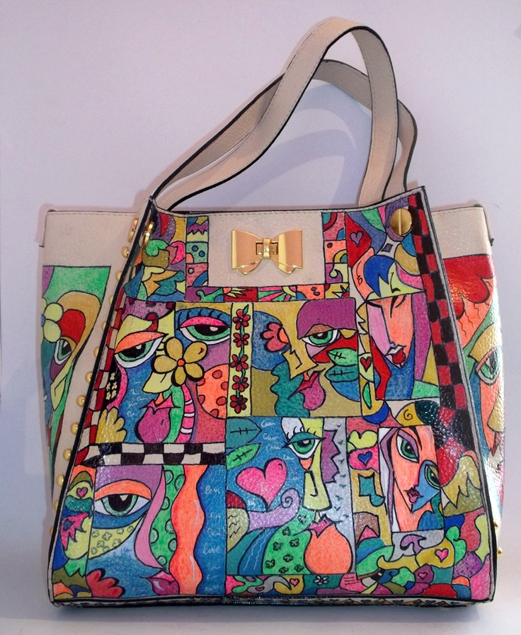 This is an extraordinary hand-painted handbag.   The design is a pop-art inspiration.   The handbag is totally handmade, and all the accessories are applied the same by hand.     This handbag is unique, very elegant, and can be worn in any season.   The interior is beige with soft material like velvel, is has two zippered wallets, one fixed, one that can be pulled out.