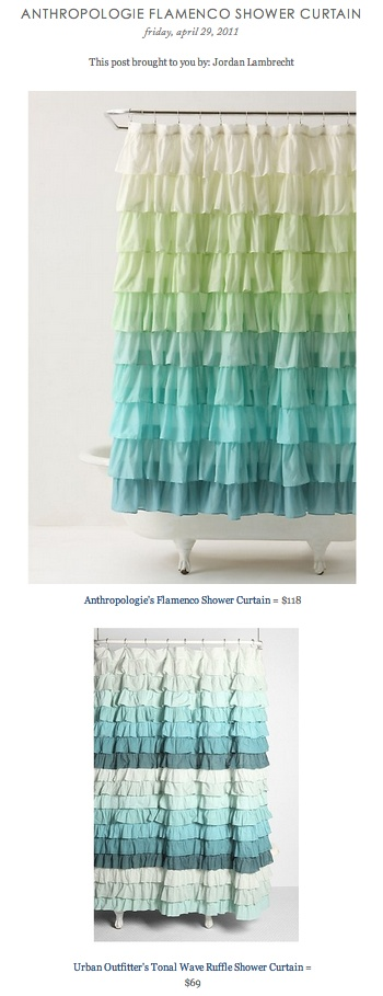 COPY CAT CHIC FIND: Anthropologieu0027s Flamenco Shower Curtain VS Urban  Outfitteru0027s Tonal Wave Ruffle Shower