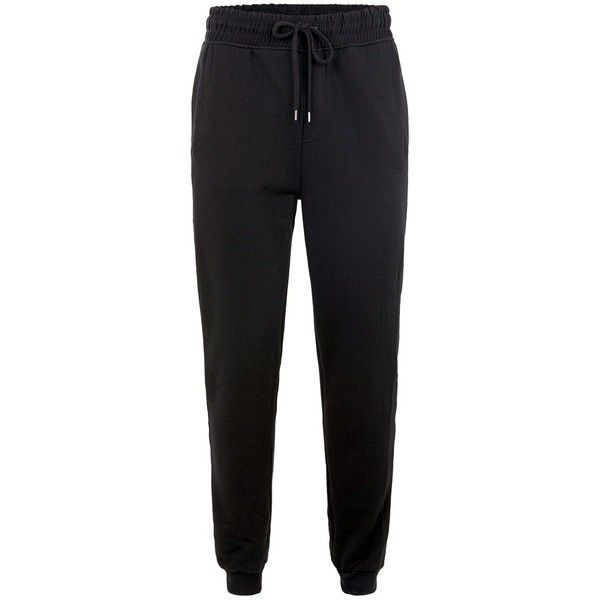 TOPMAN Black 'Unknown' Taped Joggers ($40) ❤ liked on Polyvore featuring men's fashion, men's clothing, men's activewear, men's activewear pants, navy and topman