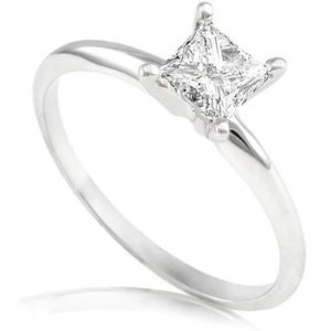 1/2 Carat Princess Cut Diamond Solitaire Ring in 14k White Gold - Size 6.5 --- http://www.pinterest.com.tocool.in/2jv