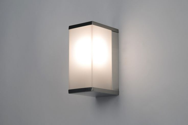 Wandlamp 30372 modern kunststof staal rvs rechthoekig