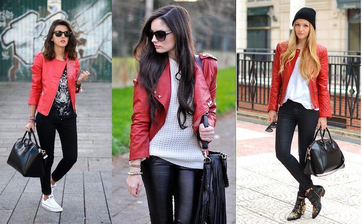 Las mejores prendas para la u las encuentras en Deisy Santafé. ¿Qué tal una chaqueta de cuero roja?  Escoge tu estilo y combínala como quieras. Foto vía. tuningpp