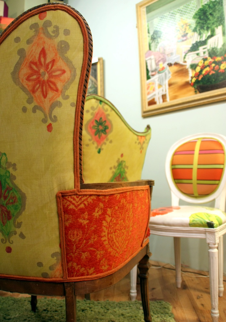 Upholstered Chair Vintage Settee, Custom Cushions And Lampshades In  Tangerine Lemon And Lime