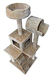 Hiding Cat Tree 49″ Tree Tower Condo Furniture Scratch Post Kitty Pet House Play Furniture Sisal Pole Stairs and Hammock (Beige)