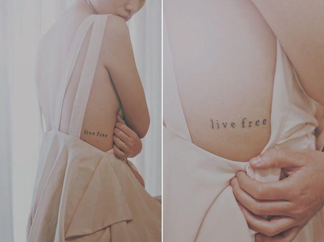 LIVE FREE tattoo, different font.