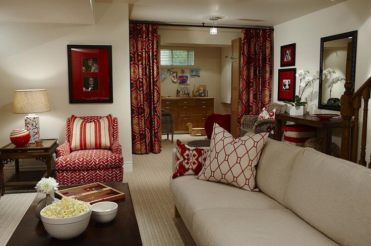 This was my cousin Jenn's house before she sold..... Design was gorgeous! sarah richardson sarah 101 red basement den