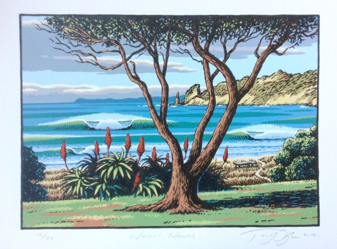 Check out Wainui Waves Limited Edition Print by Tony Ogle at New Zealand Fine Prints