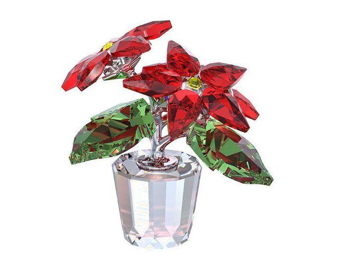 Swarovski Poinsettia Christmas Gift MIB 905209 Star Crystal Flower Pot #Swarovski