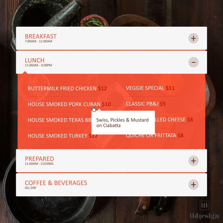 Food menu UI Design