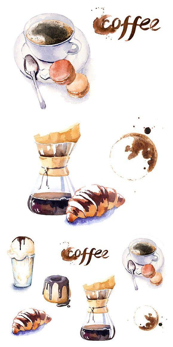 Watercolor Coffe Time Clipart Set Clip Art Watercolor Art