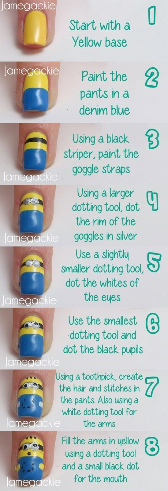 Despicable me minion nail art tutorial. Too cute! check out www.ThePolishObse... for more nail art ideas.
