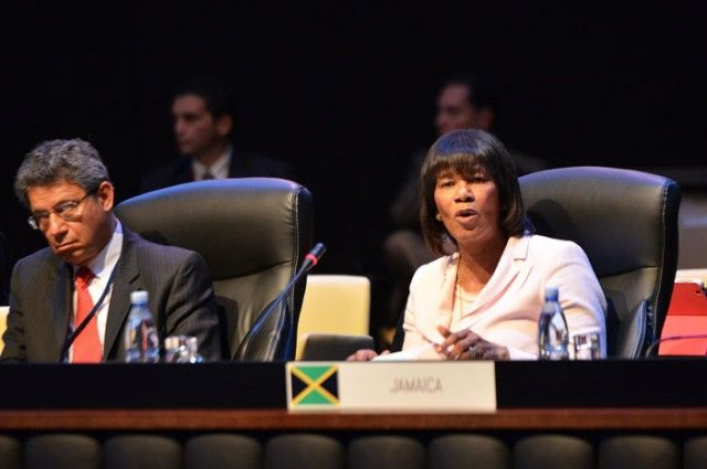 Prime Minister Portia Simpson Miller comments at a CELAC conference in Havana, Cuba.