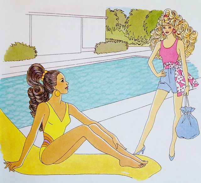 1992 Little Golden Book Barbie The Big Splash Illustration