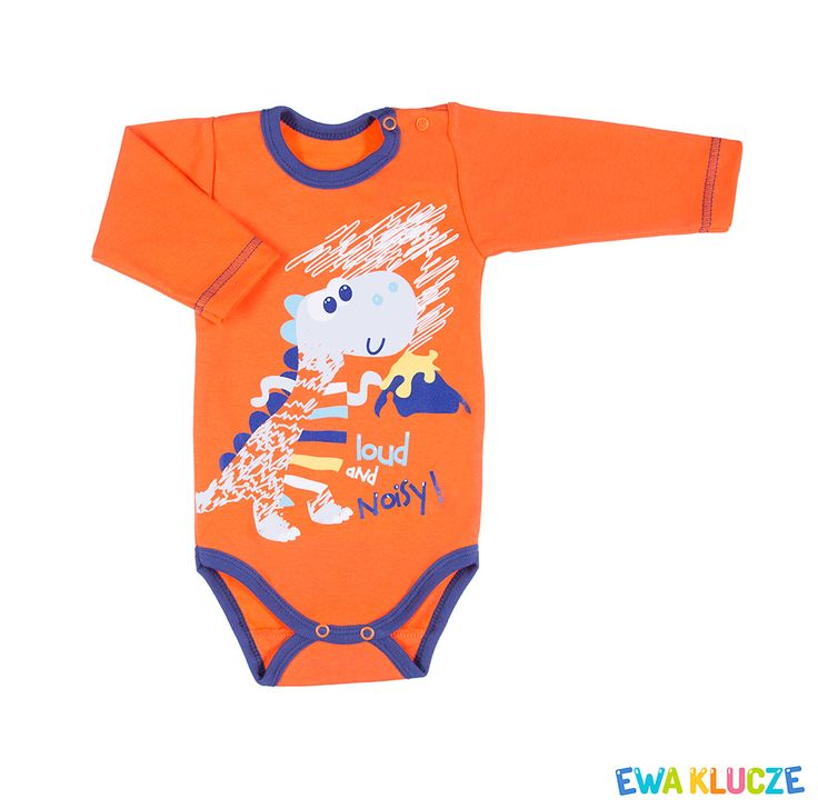 EWA KLUCZE, kolekcja MESSY PLAY, pomarańczowe body dla chłopca, wiosna-lato 2017, ubranka dla dzieci, EWA KLUCZE, MESSY PLAY collection, orange boy bodysuit, baby clothes