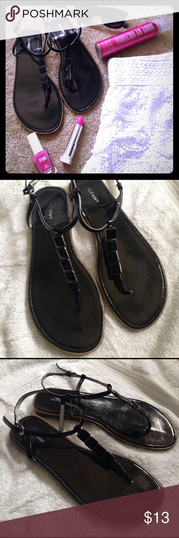 Black sandals old navy - Black Patent Old Navy Sandals With Gem Accent