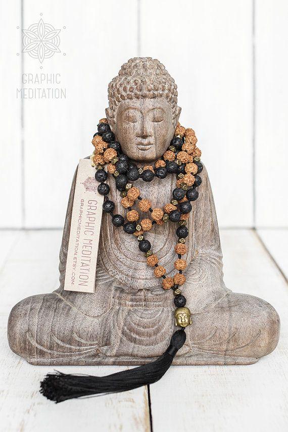 Lava mala necklace Rudraksha mala beads 108 by GraphicMeditation