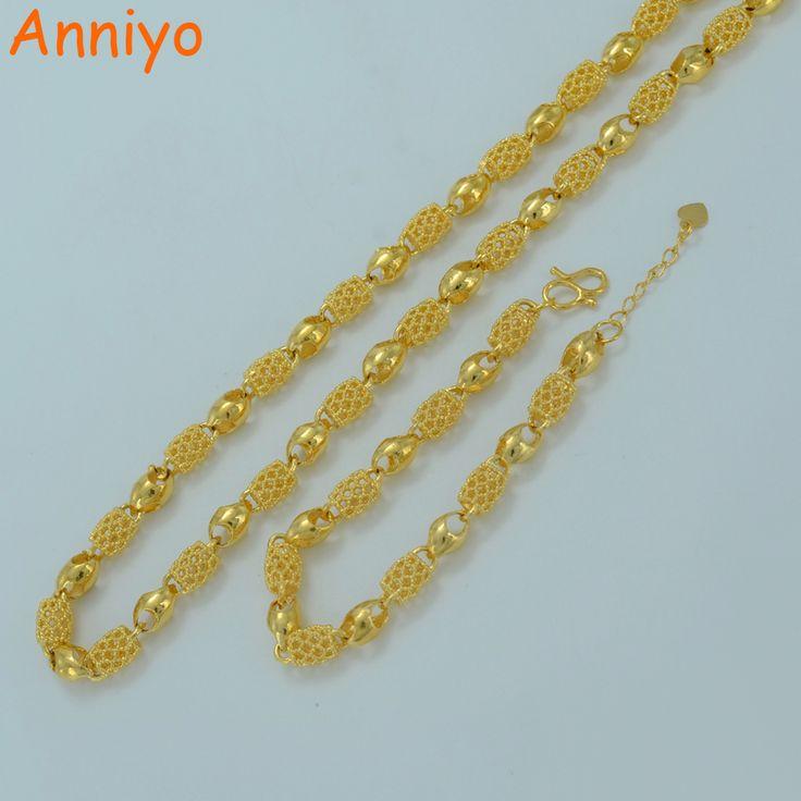 Anniyo Dubaï Collier Bracelet pour les Femmes Or Couleur Arabe Bijoux ensembles Éthiopien Épais Chaîne & Main Chaîne De Mariage/Partie #001407
