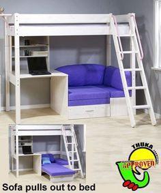 bunkbed+with+futon+and+desk   Thuka Maxi Maxi White 7 Loft Bed with Sofa Bed and Desk Sofa Bed ...