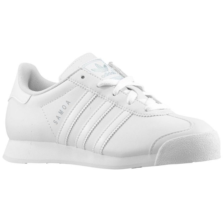 n2sneakers - adidas Originals Samoa Boys\u0027 Preschool White/White/Metallic  Silver, $62.99