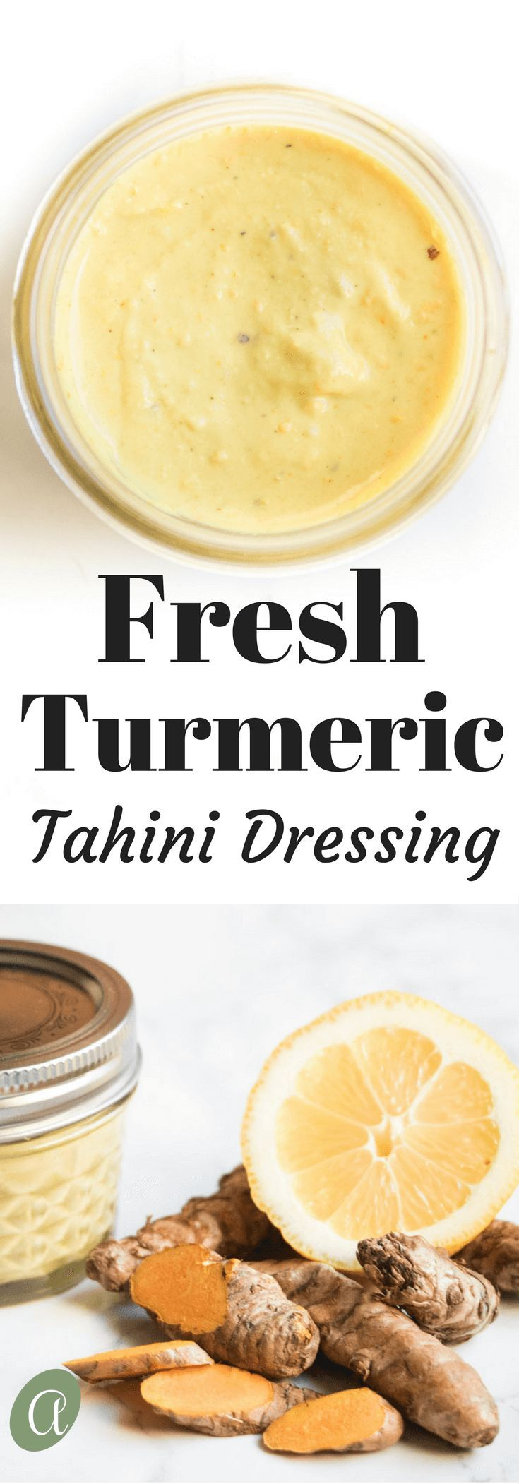 Fresh turmeric tahini dressing, only 3 ingredients. Citrusy rich and creamy, this dressing makes every salad better!  abraskitchen.com