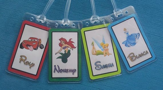 Set of Four Personalized Luggage Tags for Your Disney World - Land - Cruise Trip