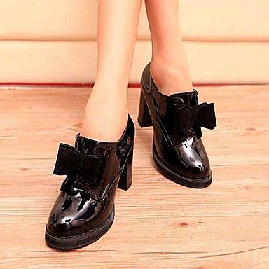Zapatos de mujer - Tacón Robusto - Tacones / Punta Redonda - Tacones - Casual - Semicuero - Negro / Bermellón 2016 – $34.99