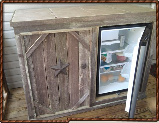 Deck Cabinet With Refrigerator.    Make The Other Side Hold Paper Plates  And Those Things. I Would Just Be Nervous For Bugs If You Keep Stuff In The  ...