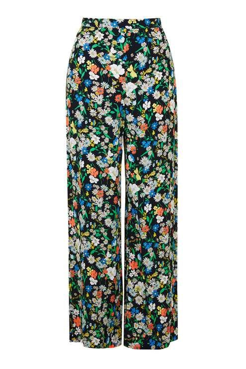 Topshop Retro Floral Wide Leg Trousers