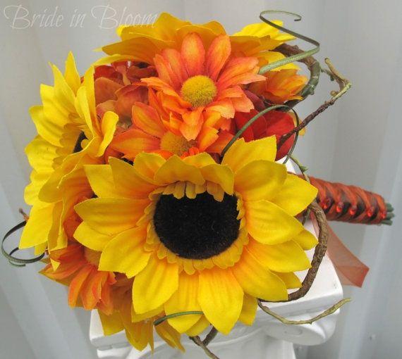 sunflowers wedding bouquet | Sunflower wedding bouquet tangerine orange by BrideinBloomWeddings, $ ...