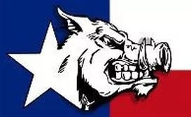 Hog Hunting Logo for Independence Ranch features a wild boar snarling mean with the Texas Flag in the background