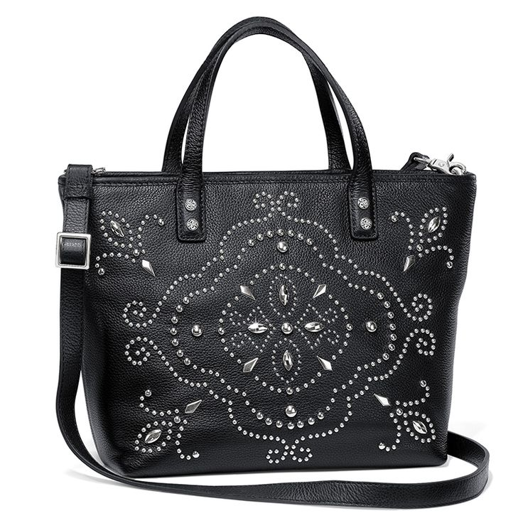 Silver colored nailheads stud embellish the black leather of our Goldwyn Cross Body Tote. #BrightonCollectibles