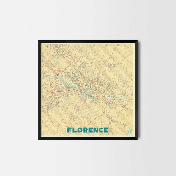 Florence City Prints -Art posters and map prints of your favorite city. Unique design of a map. Perfect for your house and office or as a gift.