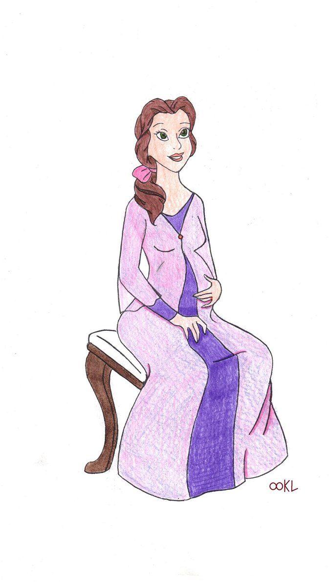Disney Princess Belle Pregnant | Pregnant Belle colored by DragonLady027
