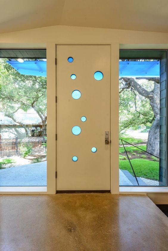 Mid-Century Modern Front Door with Circle Windows: