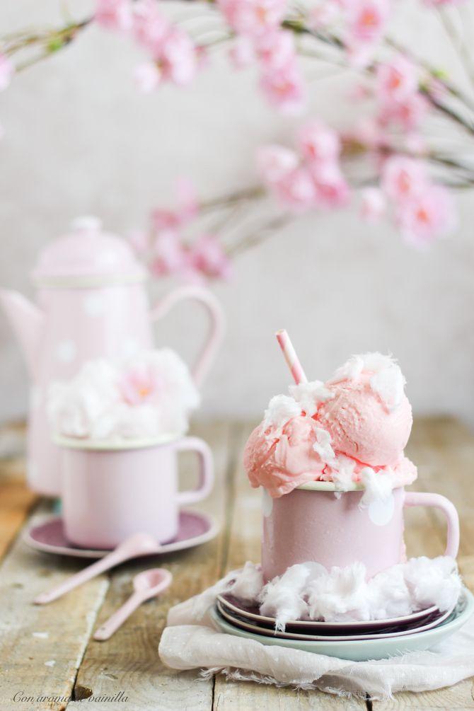 Helado de algodón de azúcar. Receta fácil.