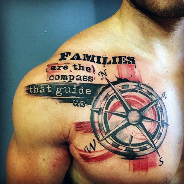 Compass With Family Quote Tattoo Mens Chest