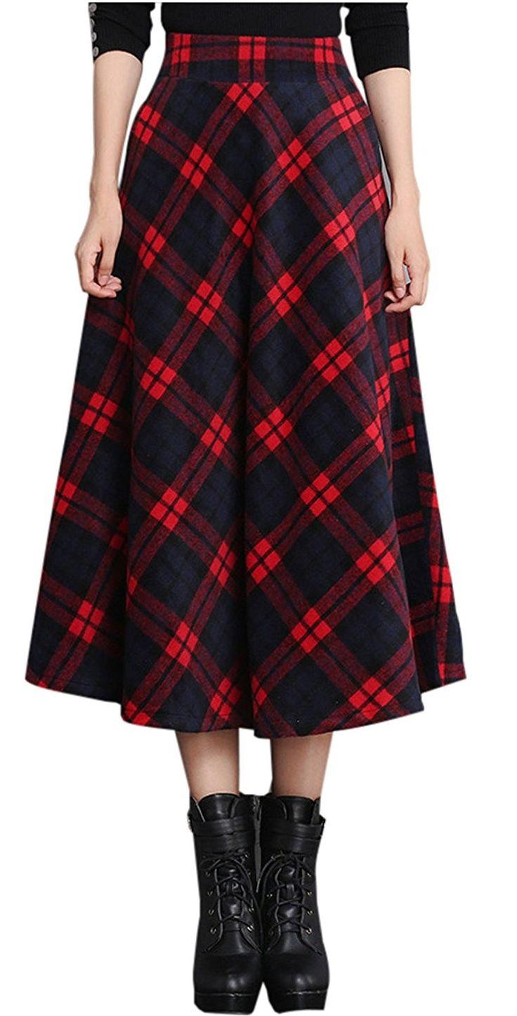 Women's Clothing, Skirts, Women's High Waist A-Line Flared Plaid Long Skirt Wint…