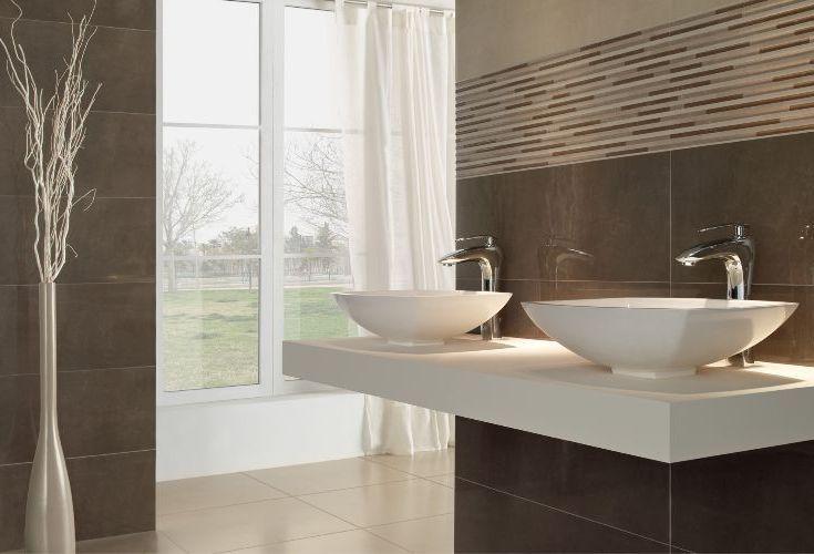 Minimalistic bathroom with floating countertop and dark - Banos minimalistas ...