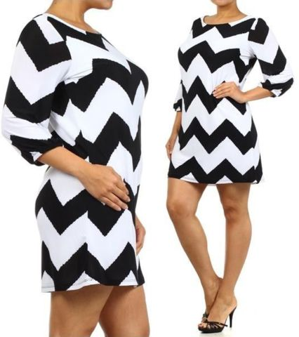 PLUS SIZE CHEVRON PRINT SHIFT DRESS - YAAAASSSSSS!!!! I could so rock this with cute flats, sandals or pumps <--- yeah right lol