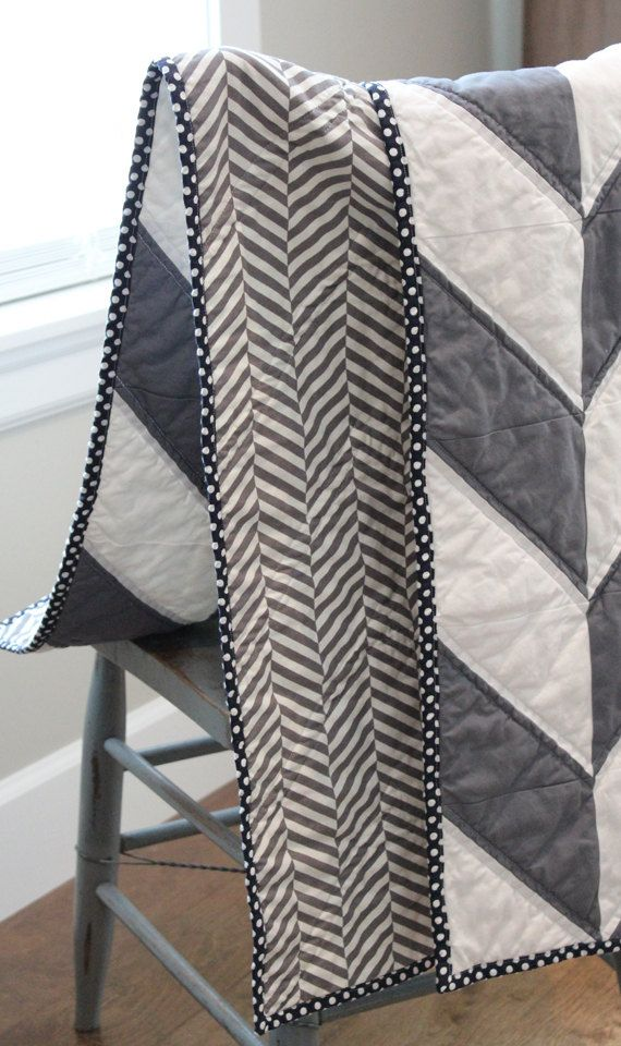 Herringbone Quilt White Grey and Navy by GiggleSixBaby on Etsy