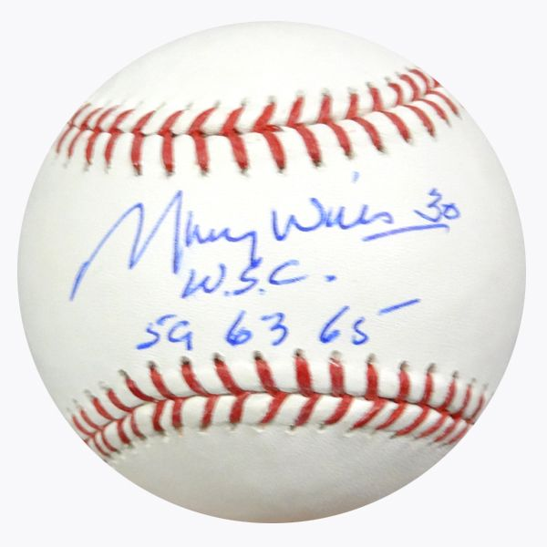 """Maury Wills Autographed Official MLB Baseball Los Angeles Dodgers """"""""W.S.C. 59 63 65"""""""" PSA/DNA Stock #64814"""