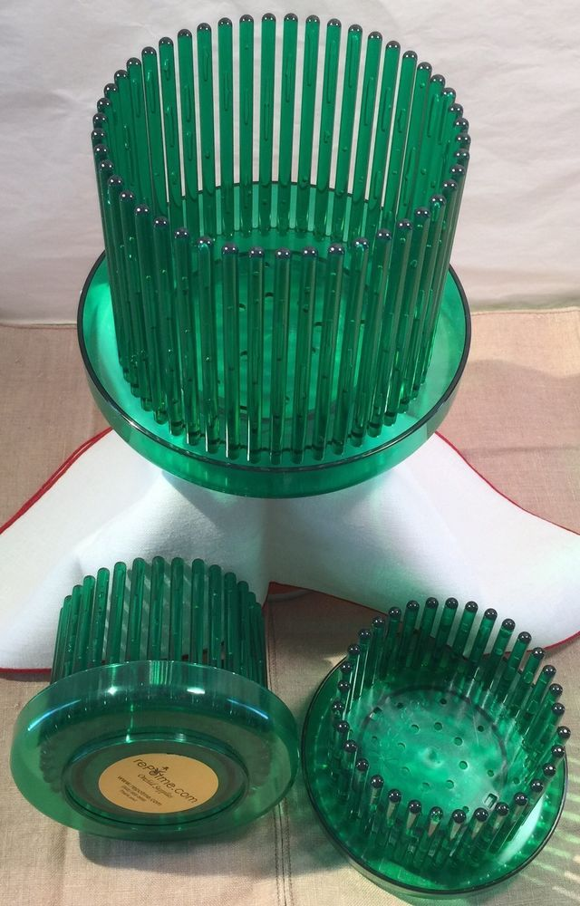 """Set of 3 Orchitop® Carousel Orchid Pots Green Emerald one 5.25"""" and two 3.75""""    #Orchitop"""